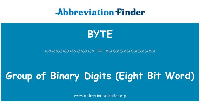 BYTE: Grupo de dígitos binarios (palabra de ocho bits)