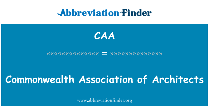 CAA: Commonwealth Association of Architects