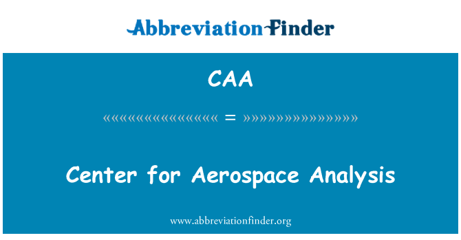 CAA: Center for Aerospace Analysis