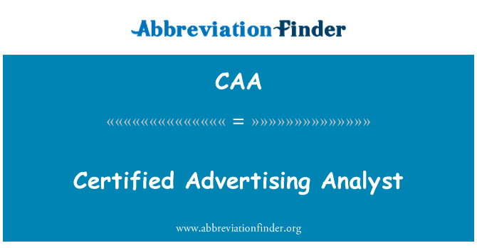 CAA: Certified Advertising Analyst