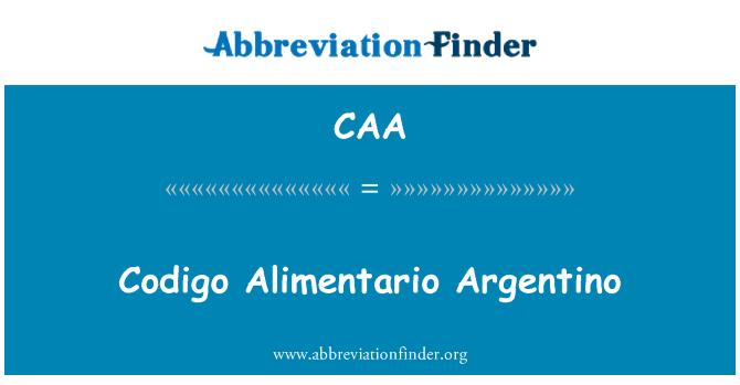 CAA: Codigo Alimentario Argentino