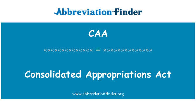CAA: Consolidated Appropriations Act