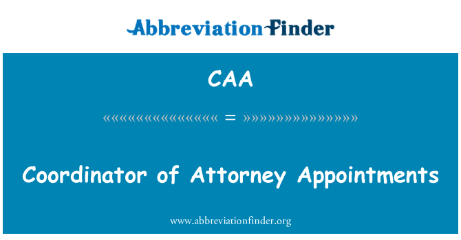 CAA: Coordinator of Attorney Appointments
