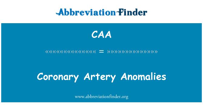 CAA: Anomalías coronarias