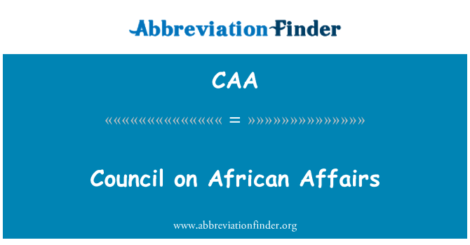 CAA: Council on African Affairs