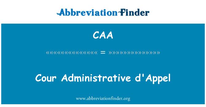 CAA: Cour d ' Appel administrativo