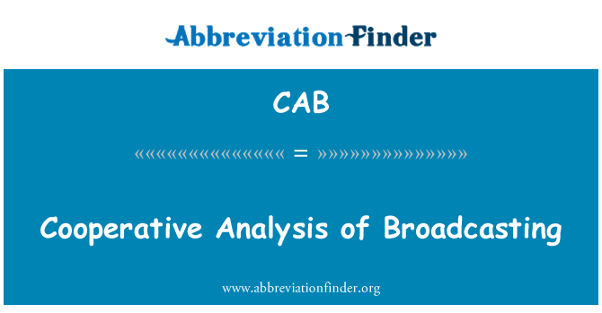 CAB: Cooperative Analysis of Broadcasting