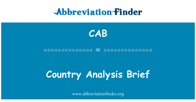CAB: Country Analysis Brief