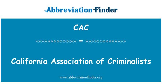 CAC: California Association of Criminalists