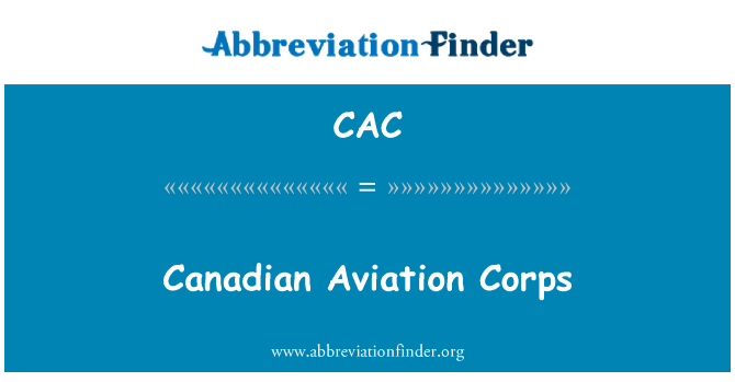 CAC: Canadian Aviation Corps