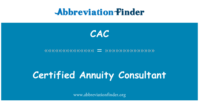 CAC: Certified Annuity Consultant