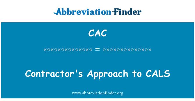 CAC: Enfoque del contratista a CALS