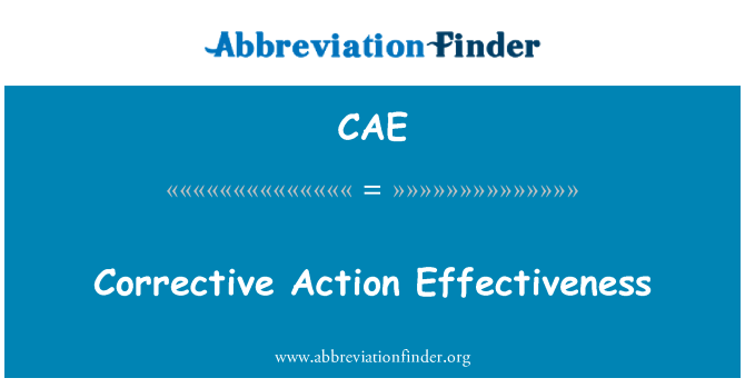 CAE: Corrective Action Effectiveness