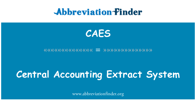 CAES: Central Accounting Extract System