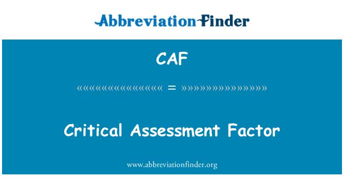 CAF: Critical Assessment Factor