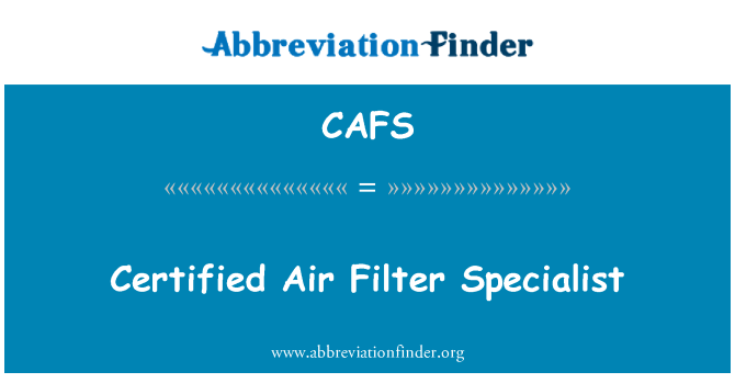 CAFS: Certified Air Filter Specialist