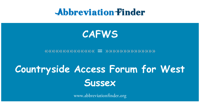 CAFWS: Countryside Access Forum for West Sussex