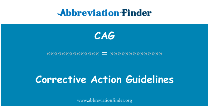 CAG: Corrective Action Guidelines