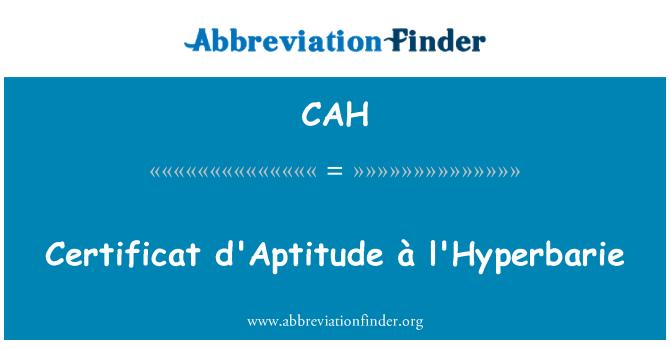 CAH: Certificat d'Aptitude Pòtapiman l'Hyperbarie