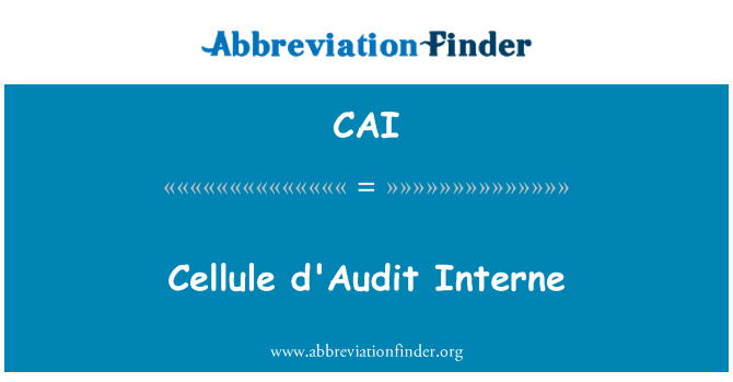 CAI: Cellule d'Audit Interne