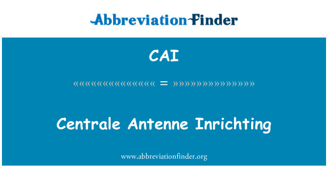 CAI: Centrale Antenne Inrichting