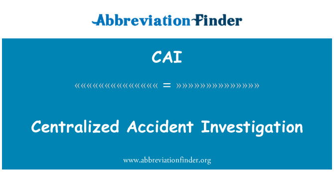 CAI: Centralized Accident Investigation