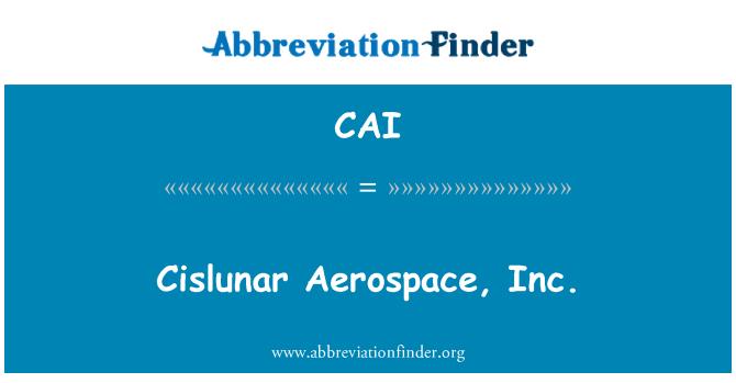 CAI: Cislunar 항공 우주 주식회사