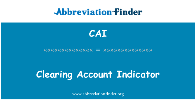 CAI: Clearing Account Indicator