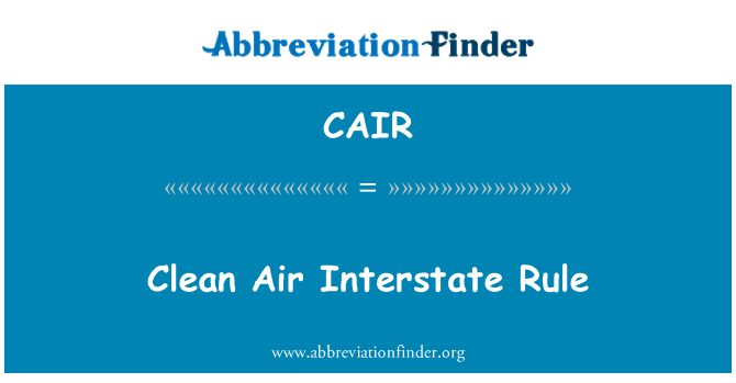 CAIR: Temiz hava Interstate kuralı