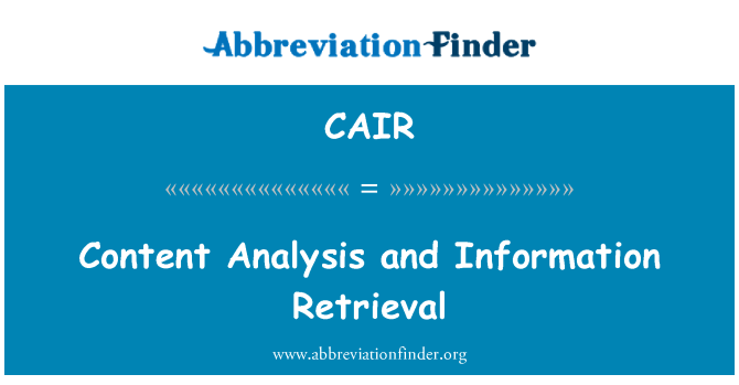 CAIR: Content Analysis and Information Retrieval