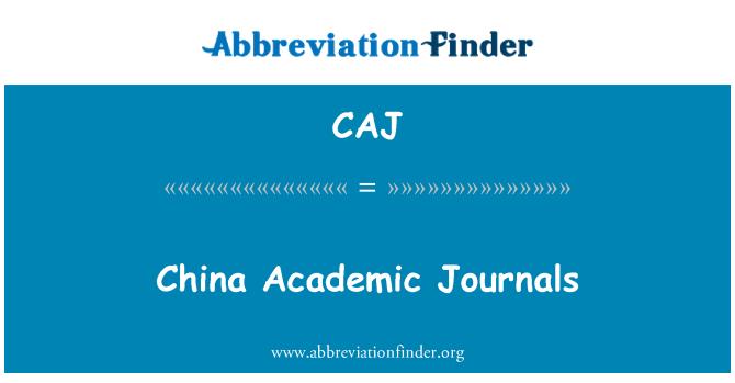 CAJ: China Academic Journals