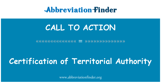 CALL TO ACTION: Certificación de la Autoridad Territorial
