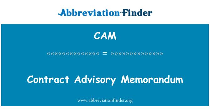 CAM: Contract Advisory Memorandum