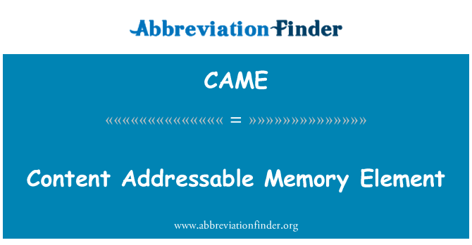 CAME: Content Addressable Memory Element