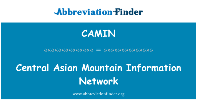 CAMIN: Central Asian Mountain Information Network