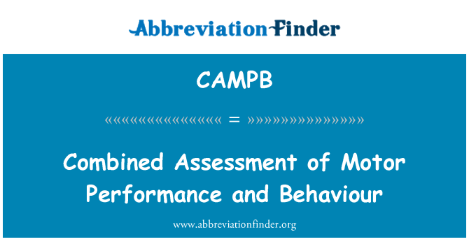 CAMPB: Combined Assessment of Motor Performance and Behaviour