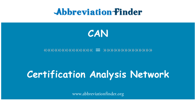 CAN: Certification Analysis Network