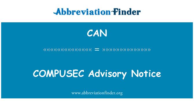 CAN: COMPUSEC Advisory Notice