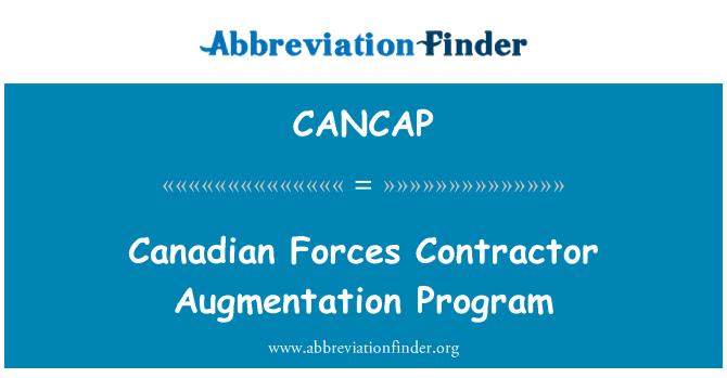CANCAP: Canadian Forces Contractor Augmentation Program