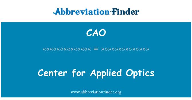 CAO: Center for Applied Optics