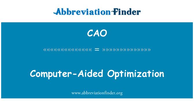 CAO: Optimización asistido por ordenador