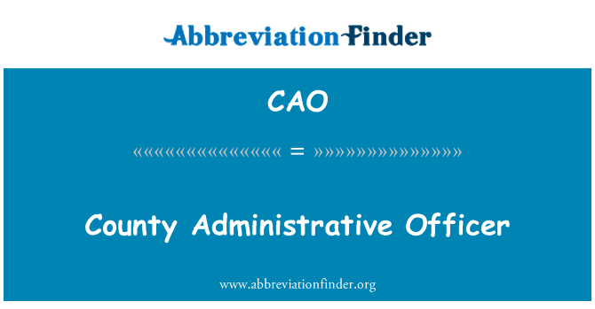 CAO: County Administrative Officer