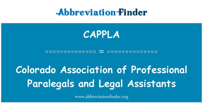 CAPPLA: Colorado Association of Professional Paralegals and Legal Assistants