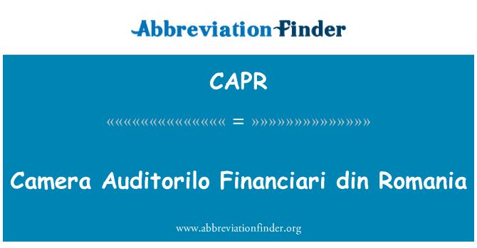 CAPR: Camera Auditorilo Financiari din Romania