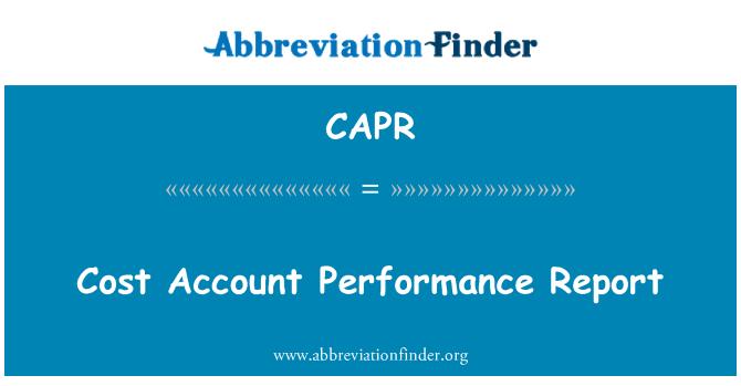 CAPR: Maliyet hesabı performans raporu