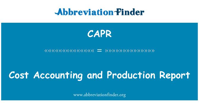 CAPR: Maliyet muhasebesi ve üretim raporu