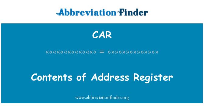 CAR: Contenido del registro de dirección