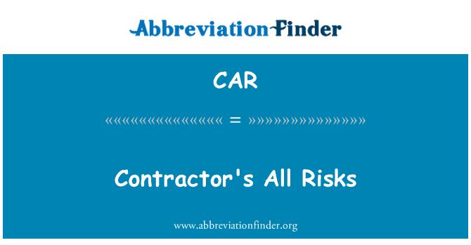 CAR: Contractor's All Risks
