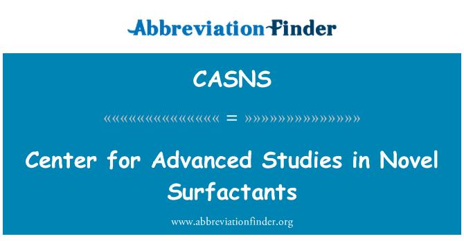 CASNS: Center for Advanced Studies in Novel Surfactants