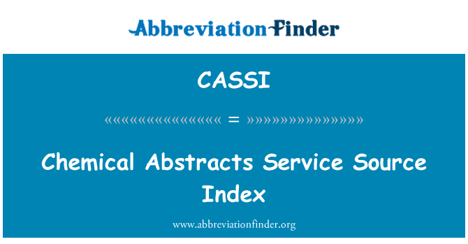 CASSI: Chemical Abstracts Service fuente Index